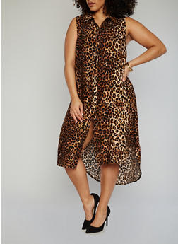 Plus Size Printed High Low Dress with High Side Slits - LEOPARD PRINT - 1390051064722