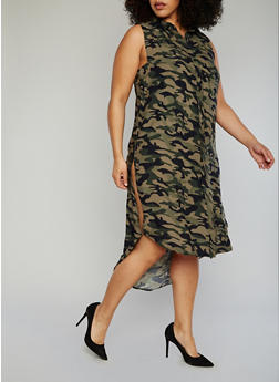 Plus Size Printed High Low Dress with High Side Slits - CAMOUFLAGE - 1390051064722