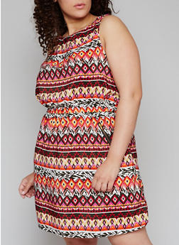 Plus Size Multi Color Dress with Cinched Waist - MAGENTA - 1390051065035