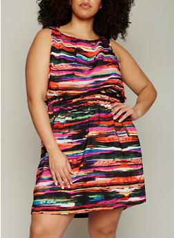 Plus Size Multi Color Dress with Cinched Waist - MULTI COLOR - 1390051065035