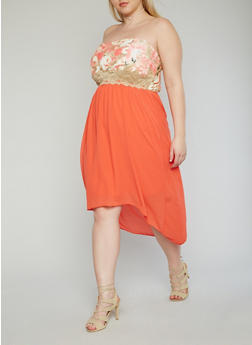 Plus Size Strapless High Low Dress with Lace Trimmed Floral Bustier - 1390051065695