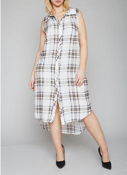 Plus Size Sleeveless Plaid High Low Shirt Dress - 1390051065722