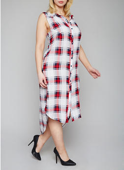 Plus Size Sleeveless Plaid High Low Shirt Dress - RED - 1390051065722
