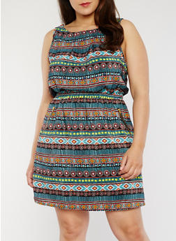 Plus Size Sleeveless Printed Dress with Cinched Waist - BLACK - 1390051066035