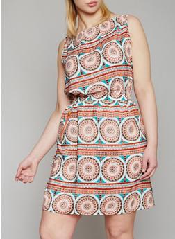 Plus Size Printed Sleeveless Dress - 1390051067035
