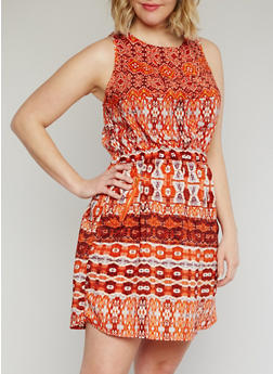 Plus Size Sleeveless Printed Short Length Dress - 1390051068035