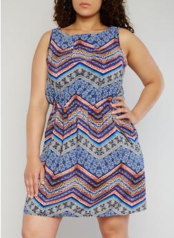 Plus Size Sleeveless Printed Short Length Dress - BLUE - 1390051068035