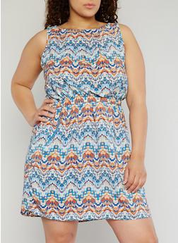 Plus Size Sleeveless Printed Short Length Dress - TURQUOISE - 1390051068035