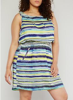 Plus Size Sleeveless Floral Print Dress - 1390051069035