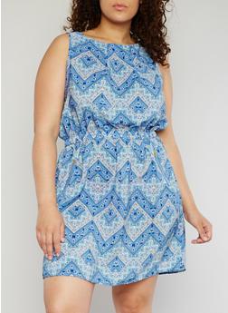 Plus Size Sleeveless Printed Dress - BLUE - 1390051069035