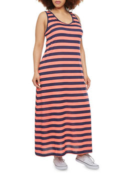 Plus Size Striped Maxi Dress - 1390054262638