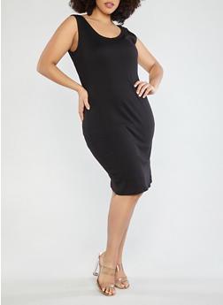 Plus Size Rib Knit Midi Dress - BLACK - 1390054267277