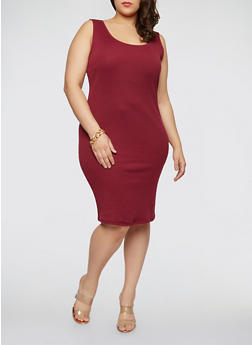 Plus Size Rib Knit Midi Dress - 1390054267277