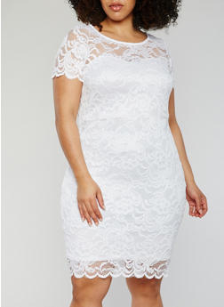Plus Size Mid Length Lace Dress - WHITE - 1390054268100