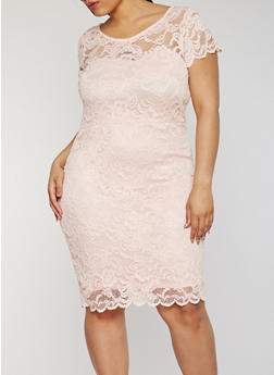 Plus Size Mid Length Lace Dress - 1390054268100