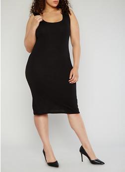 Plus Size Rib Knit Tank Dress - BLACK - 1390054268277