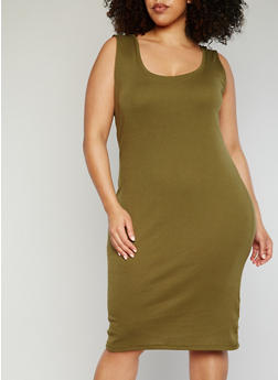 Plus Size Rib Knit Tank Dress - OLIVE - 1390054268277