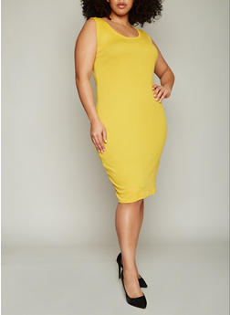 Plus Size Rib Knit Tank Dress - MUSTARD - 1390054268277
