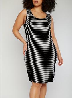 Plus Size Striped Sleeveless Rounded Hem Dress - 1390054268665