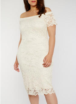 Plus Size Off The Shoulder Lace Dress - NATURAL - 1390054268800