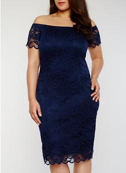 Plus Size Off The Shoulder Lace Dress - 1390054268800