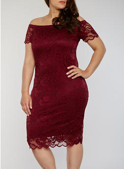 Plus Size Off The Shoulder Lace Dress - 1390054268800