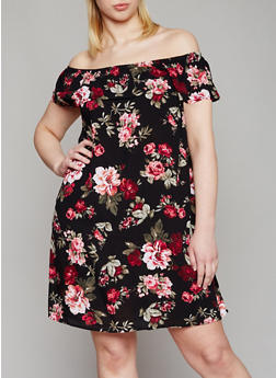Plus Size Off the Shoulder Floral Print Dress with Ruffle Overlay - 1390054268803