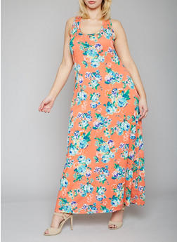 Plus Size Floral Tank Maxi Dress - 1390054269111