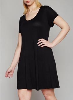 Plus Size Solid Short Sleeve Shift Dress - BLACK - 1390054269193