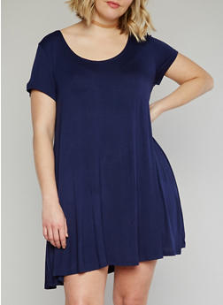 Plus Size Solid Short Sleeve Shift Dress - 1390054269193