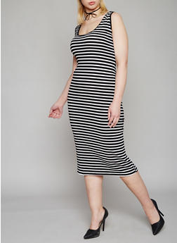 Plus Size Striped Rib Knit Tank Dress - 1390054269289