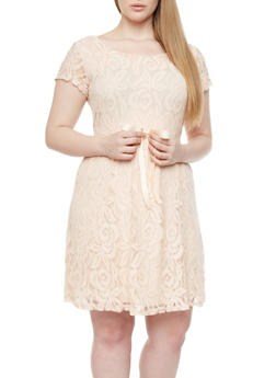 Plus Size Scoop Neck Lace Dress With Ribbon Tie Waist,NATURAL,medium