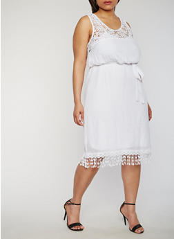Plus Size Gauze Knit Sleeveless Lace Yoke Dress - 1390056122010