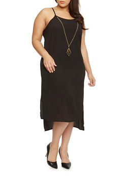 Plus Size High Low Crepe Sleeveless Dress with Necklace - BLACK - 1390056124033