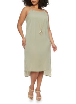 Plus Size High Low Crepe Sleeveless Dress with Necklace - 1390056124033