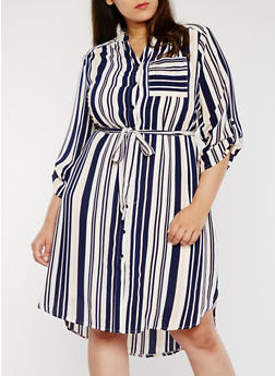 Plus Size Striped Button Front Shirt Dress - 1390056124040