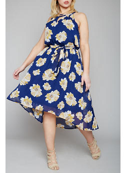 Plus Size Floral Midi Dress with Rhinestone Encrusted Collar - 1390056124043