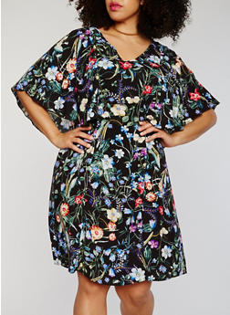 Plus Size V Neck Floral Dress with Tie Waist - 1390056124047