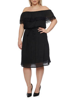 Plus Size Off the Shoulder Peasant Lace Trim Dress - BLACK - 1390056124051
