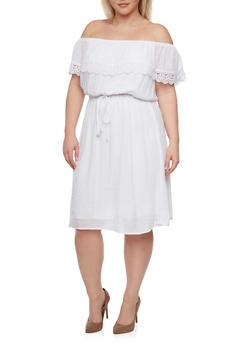 Plus Size Off the Shoulder Peasant Lace Trim Dress - WHITE - 1390056124051
