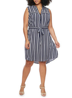 Plus Size Striped Dress with Belt - 1390056124054