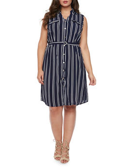 Plus Size Sleeveless Striped Shirt Dress - 1390056124055