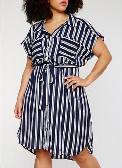 Plus Size Striped Button Front Shirt Dress - 1390056124056