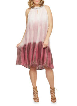 Plus Size Mid Length Tie Dye Studded Collar Shift Dress - 1390056124058