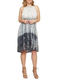 Plus Size Sleeveless Ombre Tie Dye Dress with Studded Collar - 1390056124060
