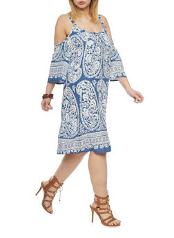 Plus Size Cold Shoulder Paisley Printed Dress - 1390056124081