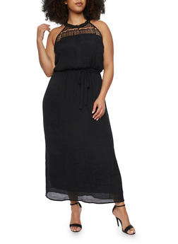 Plus Size Halter Neck Maxi Dress with Sash Waist - BLACK - 1390056124085