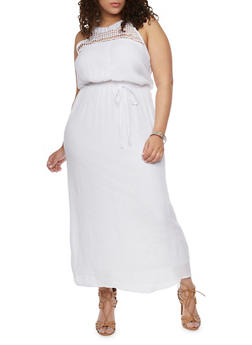 Plus Size Halter Neck Maxi Dress with Sash Waist - WHITE - 1390056124085