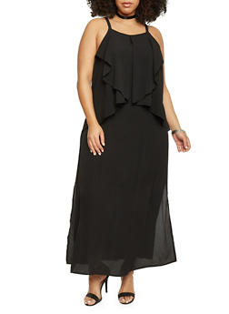 Plus Size Sleeveless Double Layer Maxi Dress - BLACK - 1390056124089