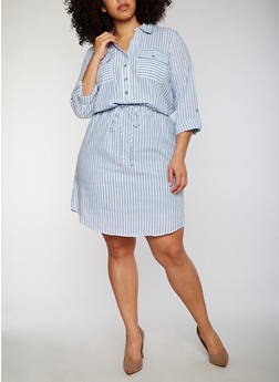 Plus Size Striped Button Front Shirt Dress with Waist Tie - 1390056124091